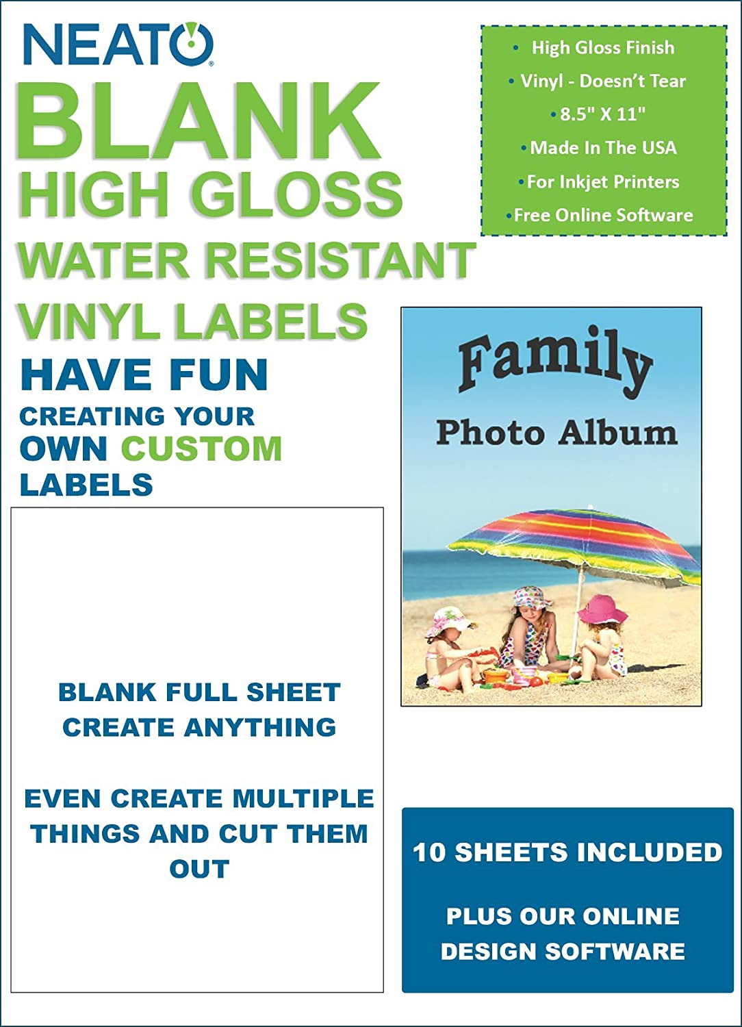 Amazon.com : Neato Blank Full Sheet Labels - White - Vinyl Printable ...