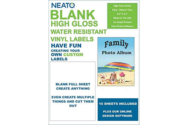 neato blank white full sheet printable labels water resistant glossy vinyl printable sticker paper 10 sheets online design label studio included