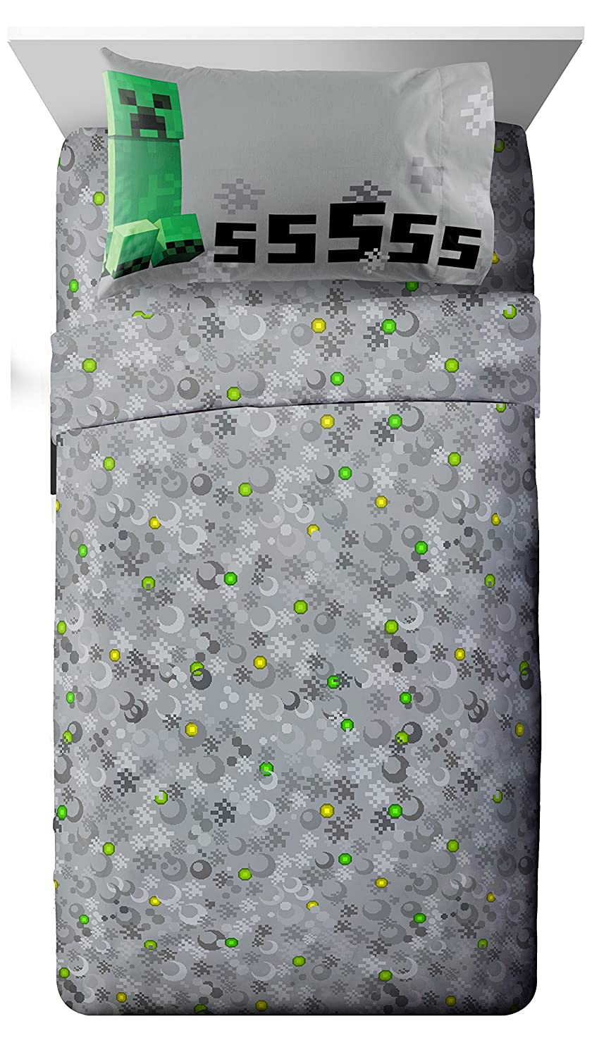 Jay Franco Mojang Minecraft Spawn Gray 4 Piece Full Sheet Set with Creeper…
