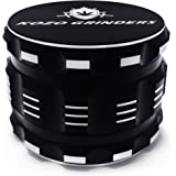 "[Upgraded Version] Best Herb Grinder For Weed With Pollen, Keef Catcher By Kozo Grinders. Large 4 Piece, 2.5"" Black Aluminium"