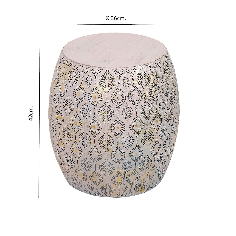 altezza 43,5 cm Tuoni Modello Lesha Tavolino da caff/è in Metallo con Decorazioni Rosa e Oro
