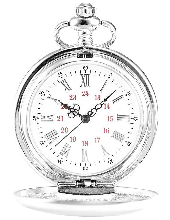 Amazon.com: AMPM24 Vintage Silver Mens Women Ladies Quartz Pendent Pocket Watch Clock Chain Gift WPK027: Watches
