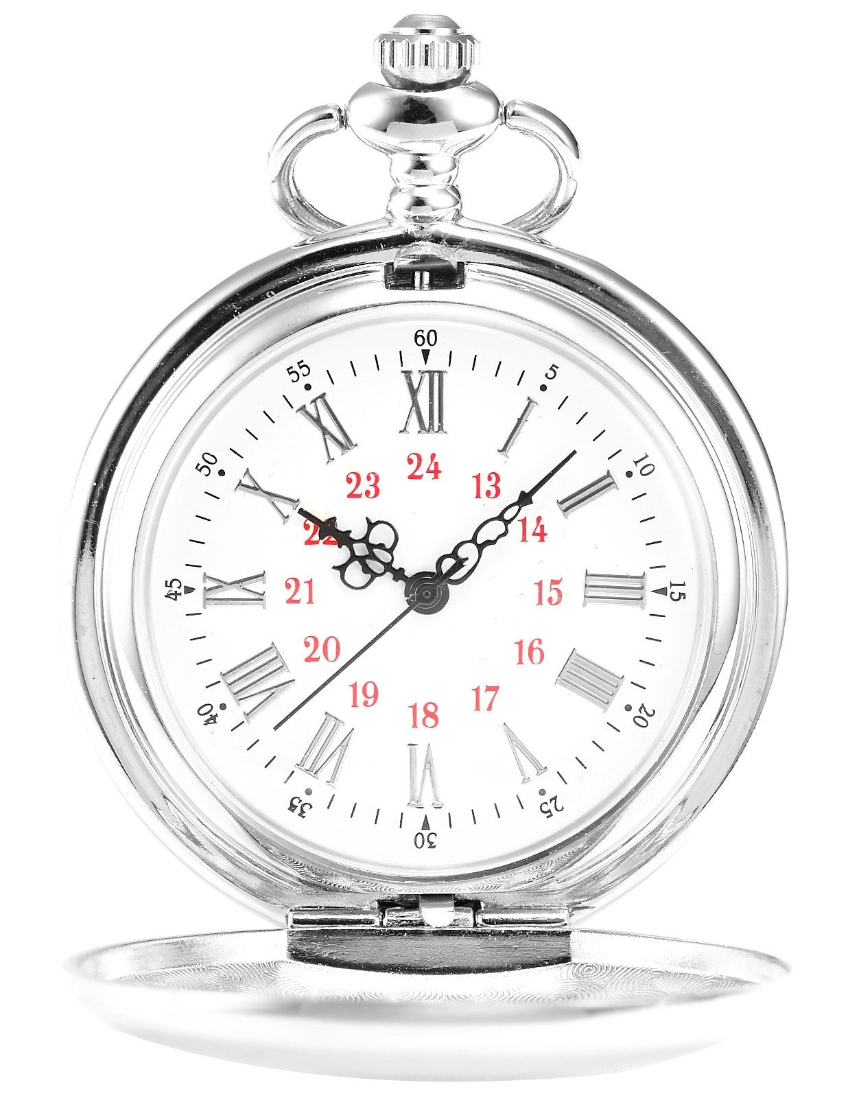 AMPM24 Vintage Silver Men's Women Ladies Quartz Pendent Pocket Watch Clock Chain Gift WPK027