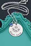Personalized Baby Necklace – DII - New Mom Gift - Handstamped Handmade Necklace – 1, 5/8 Inch 15, 25.4MM Discs – Customize Name Date – Choose Birthstone Color