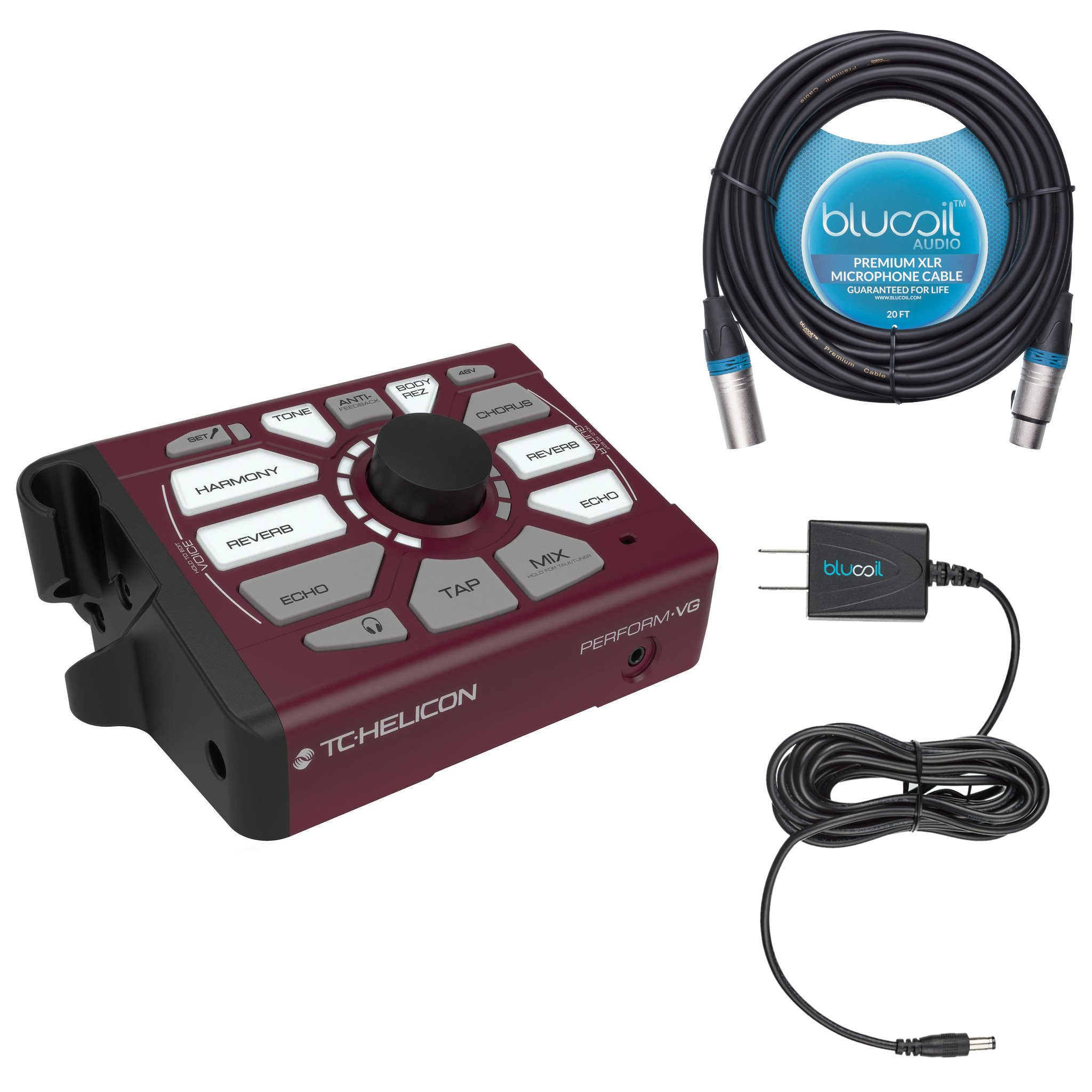TC Helicon Perform​-​VG Vocal Effect Processor -INCLUDES- Blucoil Power Supply Slim AC/DC Adapter 12V DC 1000mA with US Plug AND Blucoil Audio 20' Balanced XLR Cable