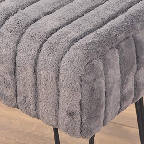 Home Soft Things Super Mink Ottoman Bench, 19 x 13 x 17 , Charcoal