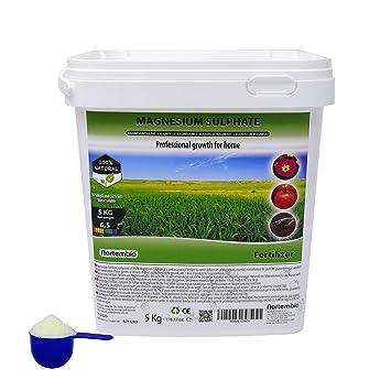 NortemBio Agro Sulfato de Magnesio Natural 5 Kg. Uso Universal. Favorece el Crecimiento de Cultivos, Jardines, Plantas de Interior y Exterior.