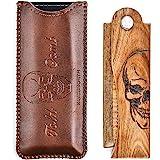Menesia Men's Pocket Comb,Folding Wooden Beard Comb with Leather Travel Case,Green Sandalwood Hair Combs Set for Men(Skeleton