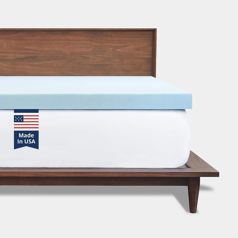 ViscoSoft Memory Foam Mattress Topper Queen   Made in USA 2 Inch Reflex Gel Mattress Pad: Kitchen & Dining