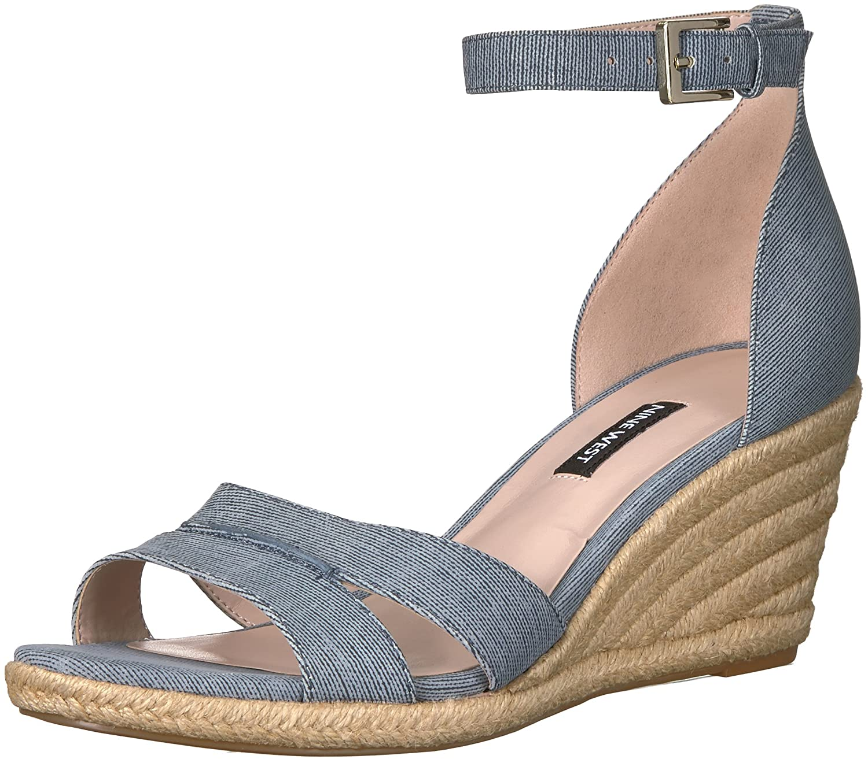 NINE WEST Womens JABRINA Leather Wedge Sandal