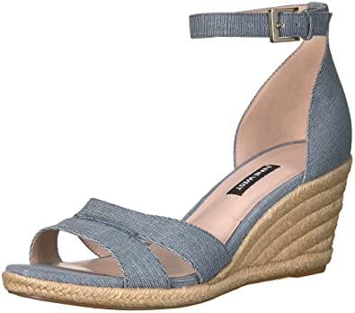 706f5f02bcf Nine West Women s JABRINA Wedge Sandal Dark Blue Leather 10 Medium US