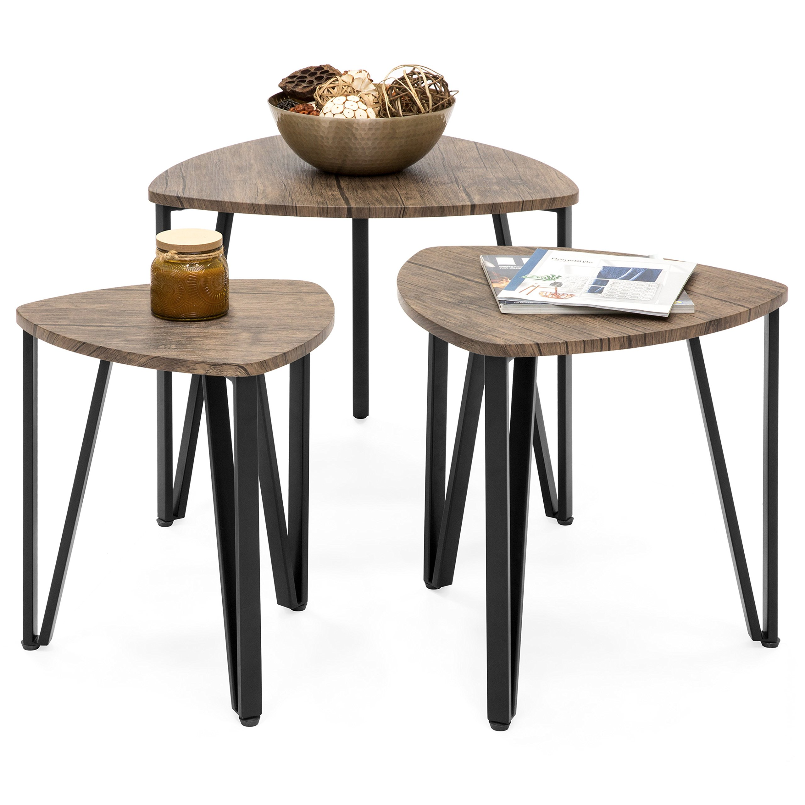 Best Choice Products Set of 3 Modern Leisure Wood Nesting Coffee Side End Tables for Living Room, Office, Brown by Best Choice Products