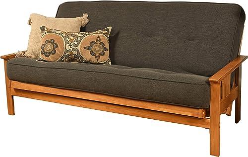 Kodiak Furniture Monterey Futon Set with Butternut Finish, Full, Linen Charcoal