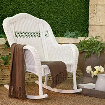 Amazoncom Elegant Outdoor Patio Wicker Rocking Chair With Durable