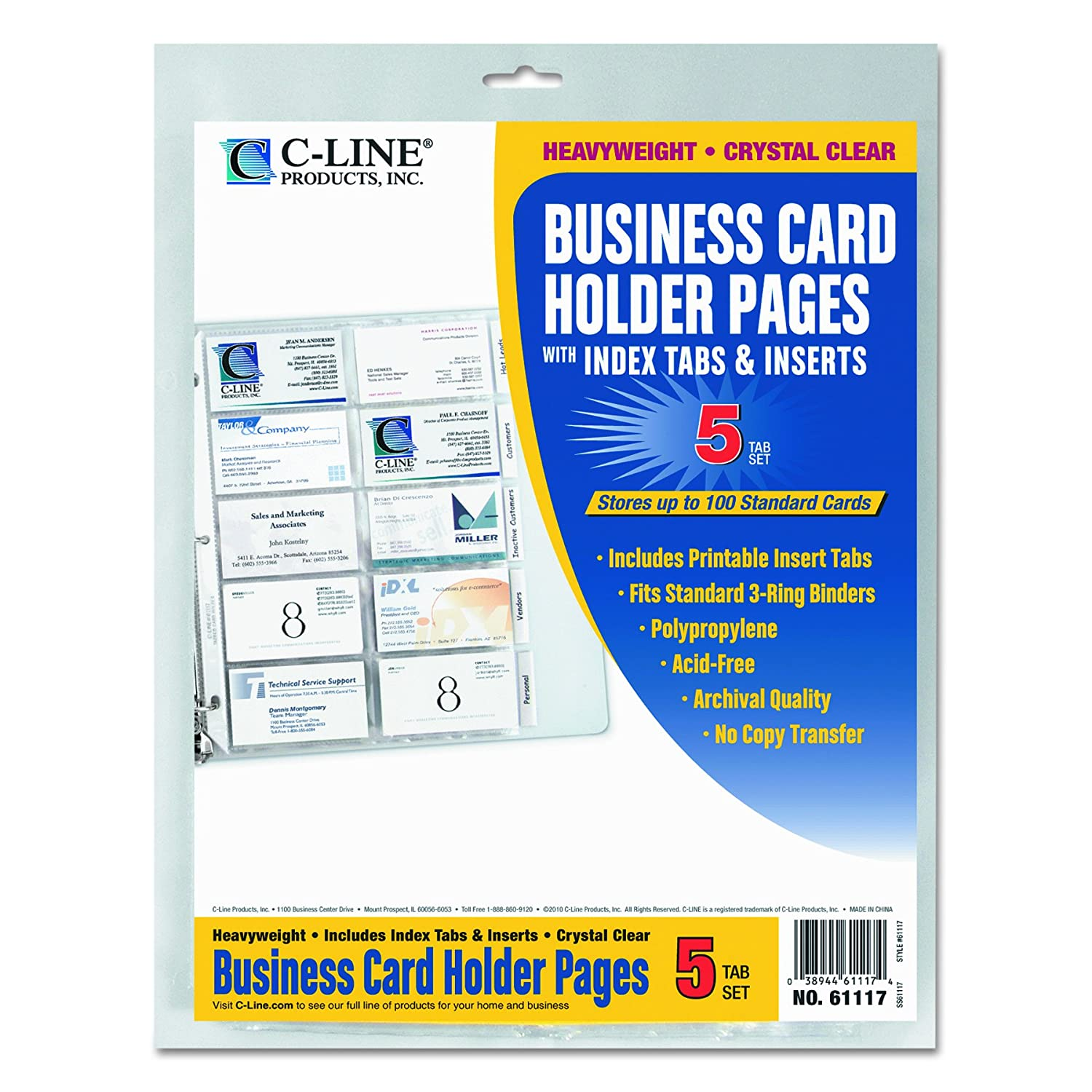 Amazon.com : C-Line 61117 Tabbed Business Card Binder Pages, 20 ...