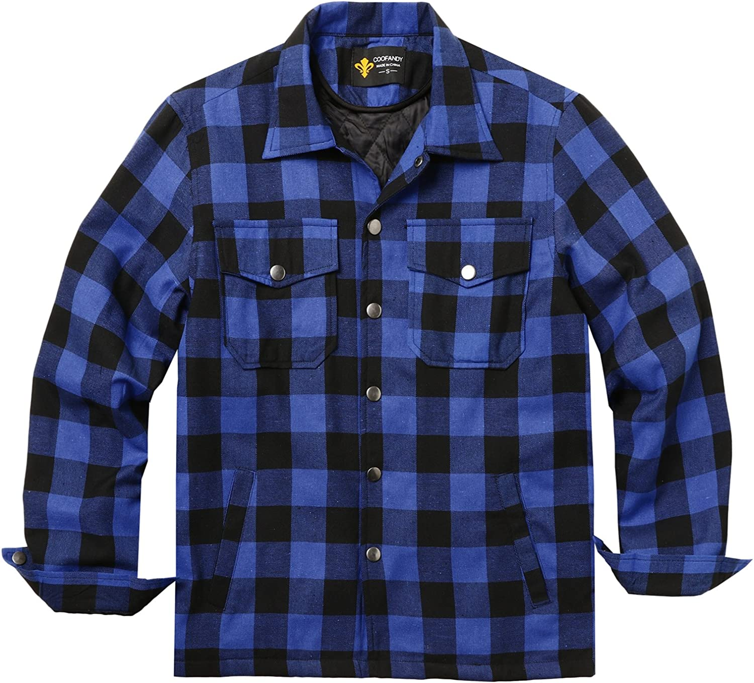 B01MRN669L COOFANDY Mens Flannel Thermal Lined Plaid Button Down Shirt Jacket Outdoor Coat 81A8CWcF1dL