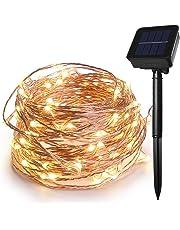 HEEPOW 100 LED Guirlande Lumineuse Solaire Blanc Chaud, Guirlande Lumineuse Noel à Fil de cuivre à 3 torons Améliorée, 39ft/12M 8 modes Chaînes de Lumière Solaire