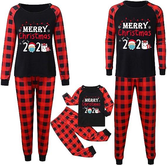 YIKEYO Pijamas de Navidad Familiar - para Pareja Hombre Mujer Niño Niña 2 a 11 años Bebe 0 a 24 Meses - a Cuadros Roja y Negra Conjunto Dos Piezas Top ...