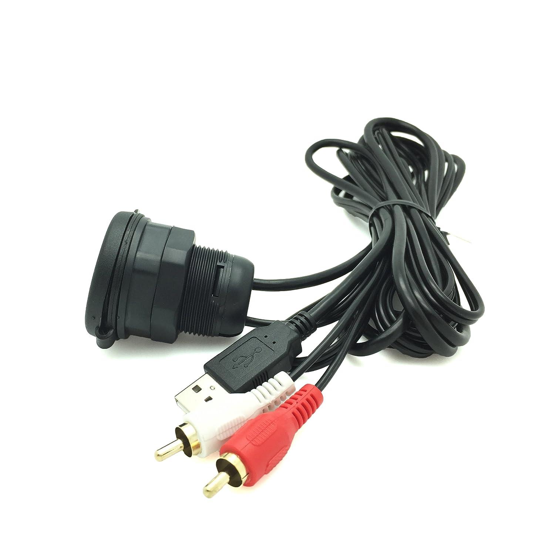Cable USB / AUX 1/8 2 RCA AV Waterproof Extensión de datos Instalación de lujo en el automóvil