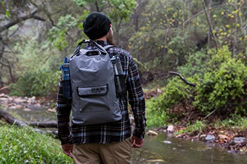 Chaos Ready® Waterproof Backpack - Dry Bag - Quality Heavy Duty - Padded Shoulder Straps - Mesh Side Pockets - Easy Access Front Pocket.