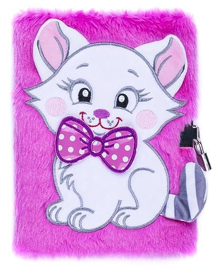 Agenda en peluche Fringoo® - Pour garçons et filles - Format A5 - 3D - Avec verrou et marque-page - Adorable licorne - 80 pages a5 Motif chat Rose