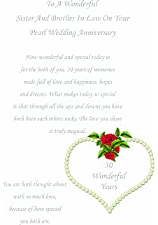 brother sister in law pearl wedding anniversary card amazon co uk