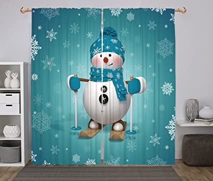 Merveilleux 2 Panel Set Window Drapes Kitchen Curtains,Snowman Skiing With Ornate  Snowflakes Winter Vacation Activity