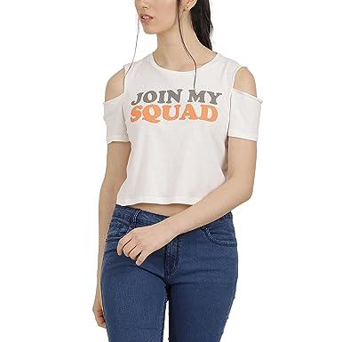 7b2d8756682ba Free Authority Women Plain Regular Fit T-Shirt (8903346732487 Off White S)