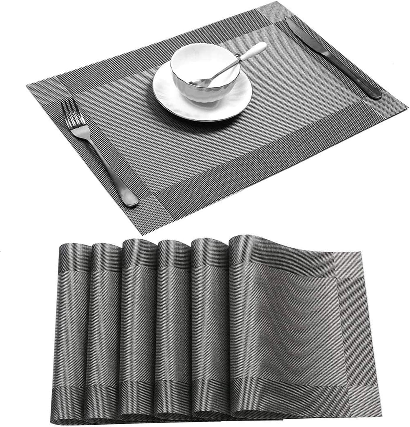 Digead Place Mats, Placemats for Dining Table Set of 6, Heat-Resistant Non-Slip Placemats Washable PVC Table Mats, DIY Size for Various Plates