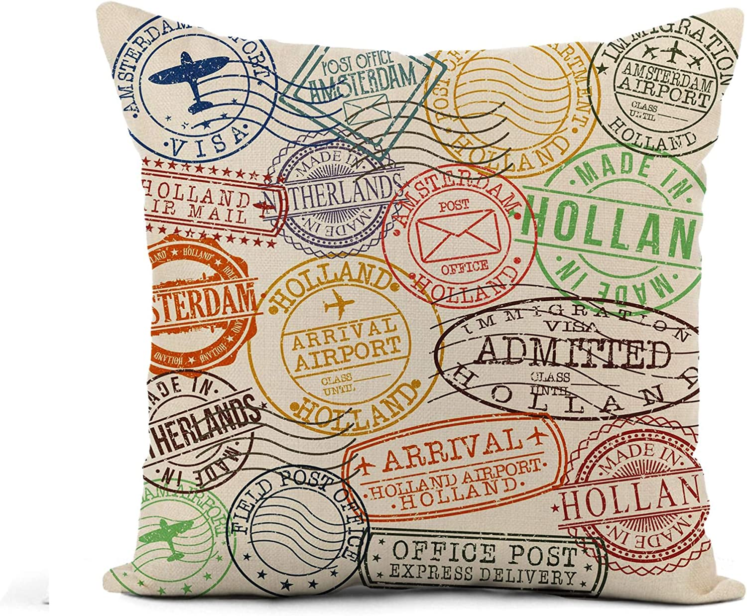 Awowee Flax Throw Pillow Cover Post Amsterdam Holland Netherlands Stamp Symbol Aged Airport Antique 18x18 Inches Pillowcase Home Decor Square Cotton Linen Pillow Case Cushion Cover