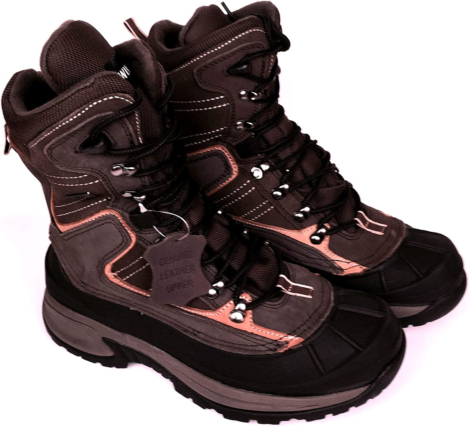 LABO LB Mens Leather Insulated Waterproof Construction Rubber Sole Winter Snow Skii Boots