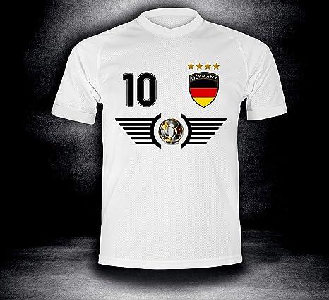 ElevenSports Deutschland Trikot 2018 mit GRATIS Wunschname + Nummer im EM WM Weiss Typ #DE5t - Geschenke für Kinder Erw. Jung