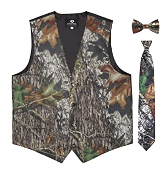 cf932bb1a1cea Mossy Oak Camouflage Vest for Men w/Long Tie & Bow Tie at Amazon ...