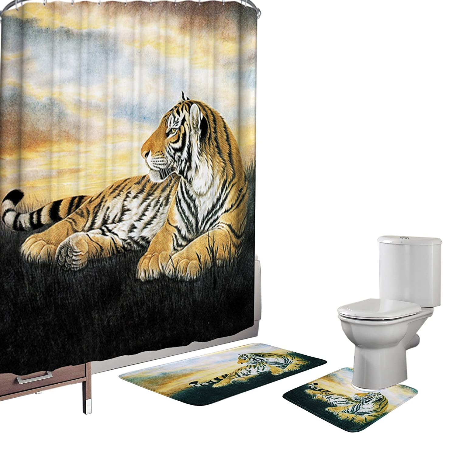 Bearbae 15 Pieces Shower Curtain Set Bathroom Mats Set Non-slip Rug Carpet Shower Curtain and 12 Hooks Yellow Tiger Print BB