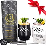 DELUXY Mr and Mrs Wine Tumblers - Perfect Engagement Gifts For Couples, Bridal Shower Gifts For Bride, Wedding Gifts For Coup