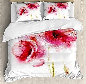 Ambesonne Flower Duvet Cover Set, Little Red Spring Summer Time Garden Florals Field Poppy Artwork, Decorative 3 Piece Bedding Set with 2 Pillow Shams, Queen Size, Pink White