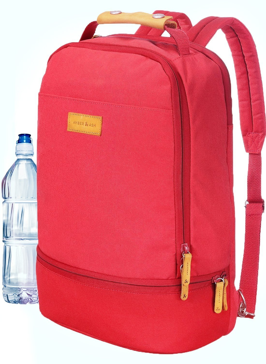 AMBER & ASH Lightweight Laptop School Backpack 15.6 Inch Computer Tablet Fits iPad Pro Water Resistant Travel Bag Large Bottom Compartment Many Pockets Comfortable Straps Genunine Leather Handle, Red