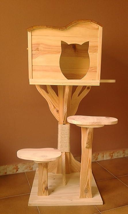 Arbol rascador para gatos con casa de madera artesanal nueva. 120cm Altura