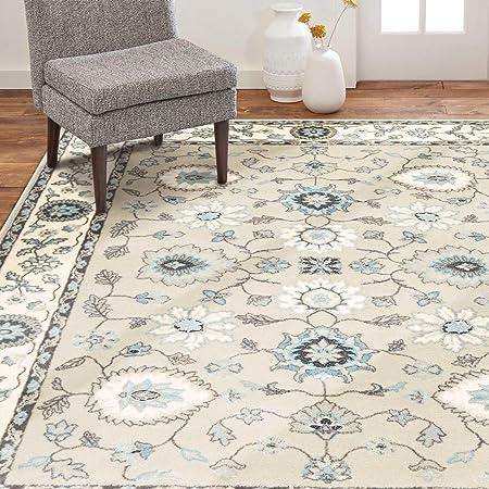 Home Dynamix Oxford Caspian Traditional Area Rug 47 X63 Medallion Border Beige Cream Blue Furniture Decor Amazon Com