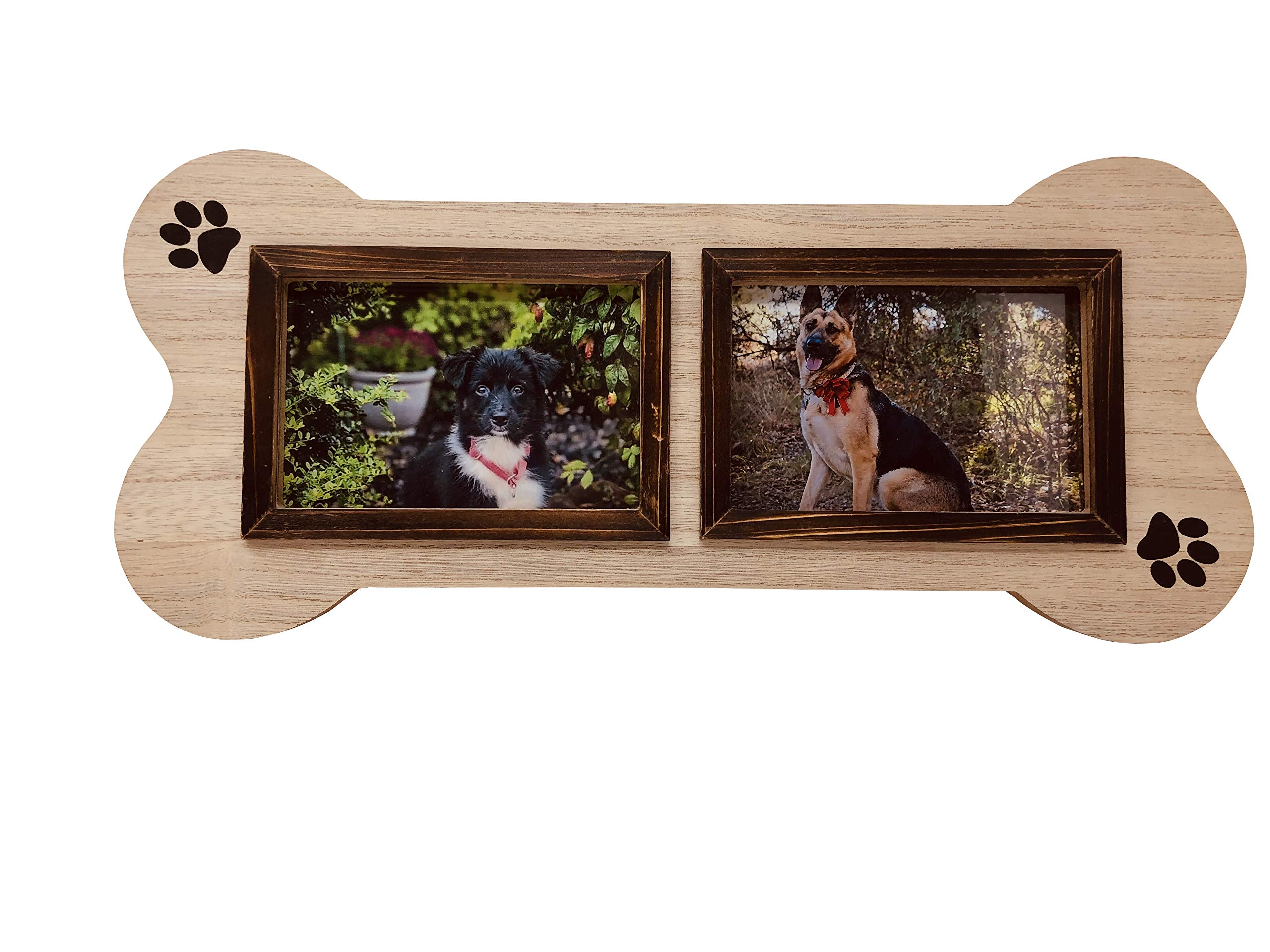 Dog Picture Frame Unique Collage, 4x6, Two Photo, Picture Frame in The Shape of a Dog Bone. Makes a Great Gift for Anyone That has Dogs by FoxCarr