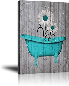 Giclee Canvas Wall Art for Home Decoration, Abstract Canvas Wall Decor with Teal White Rustic Flower Bathtub , Modern Paintings Picture Decorative Artwork for Livingroom Bedroom Bathroom 16x20