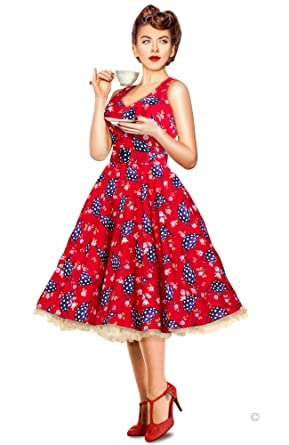 d3501d24 1950's Style Dress Red Teapots Vintage Pin Up Party Wedding. Made in the UK
