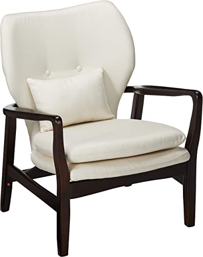 Christopher Knight Home Haddie Wood with Fabric Club Chair, Dark Espresso Finish Beige