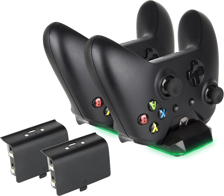Megadream - Cargador para mando de Xbox One, estación de acoplamiento dual de 300 mAh, batería recargable y cable de carga y indicador LED cargado para Xbox One, Xbox One Slim, Xbox