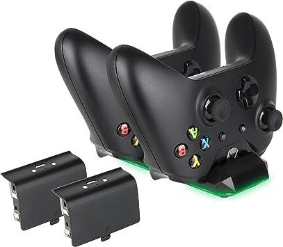 Megadream - Cargador para mando de Xbox One, estación de acoplamiento dual de 300 mAh, batería recargable