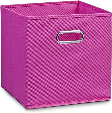 Zeller 14116 - Caja de almacenaje de tela, plegable, 32 x 32 x 32 cm, color rosa: Amazon.es: Hogar