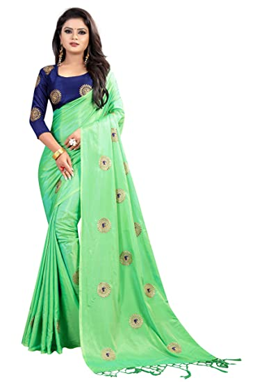 550198197b0d3 Crazy Women s Paper Silk Saree with Blouse Piece (Green)  Amazon.in ...