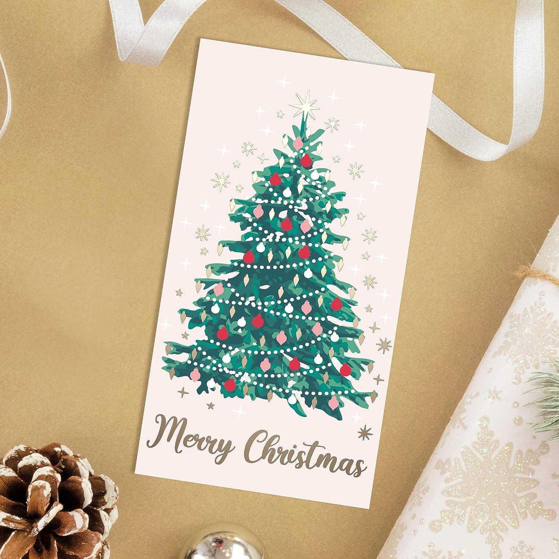 Interno Opaco con Intagli 6 Fantasie Set di 24 Bigliettini di Auguri con Busta Rossa 4 di Ognuno Esterno Lucido Carta 300 gsm 9x16cm Porta Carte o Soldi Sweetzer /& Orange Regali di Natale