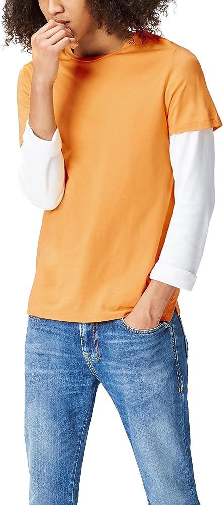 find. Side Split Crew Neck Tee, Camiseta para Hombre, Naranja (Mango), Small: Amazon.es: Ropa y accesorios