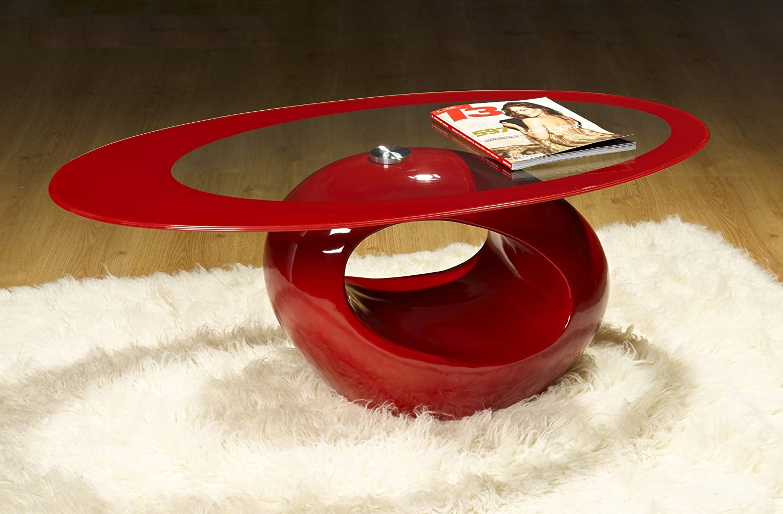 UKCOFFEETABLES Designer Oval Coffee Table (RED): Amazon.co.uk: Kitchen U0026  Home